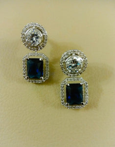 Sapphire Stone Stud Earrings - Ziva Art Jewellery