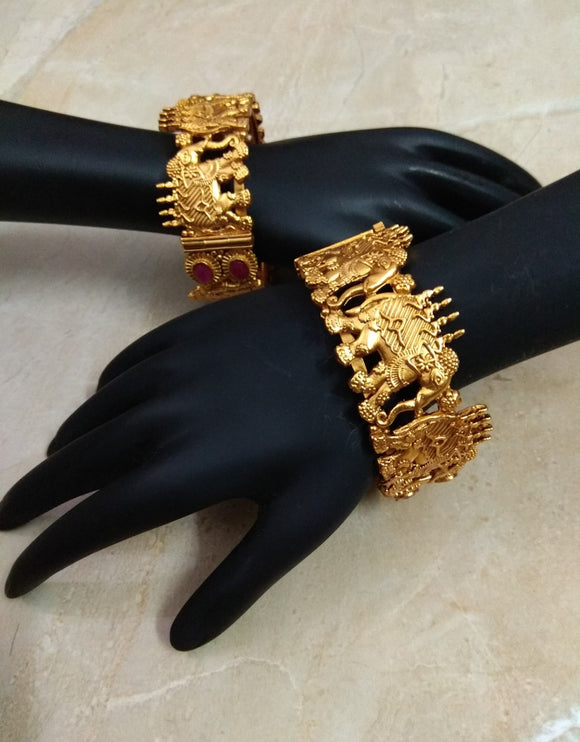Gerua Polish Gold Bangles - Ziva Art Jewellery