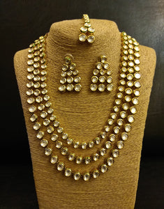 Triple line Kundan long Necklace with Earrings and Tikka - Ziva Art Jewellery