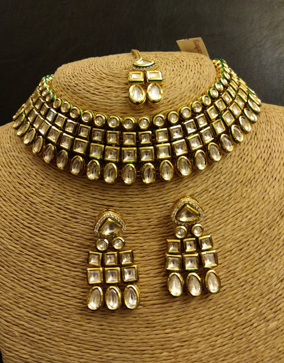 Four line Kundan Necklace with Earrings and Tikka - Ziva Art Jewellery