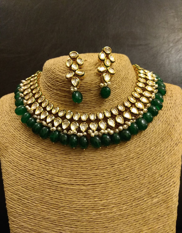 Double Line Kundan Necklace with Emerald drops and Earrings - Ziva Art Jewellery