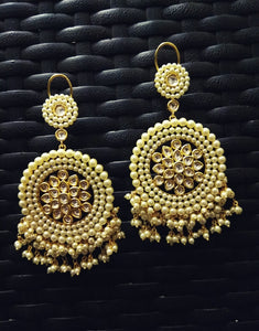 kundan with Pearls Chand Bali Earrings - Ziva Art Jewellery