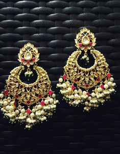 Kundan Chandbali Earrings - Ziva Art Jewellery