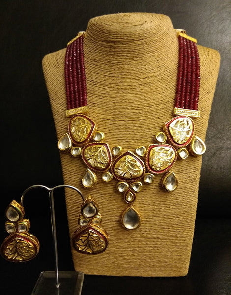 Jali Kundan Rubby Necklace with Earrings Set