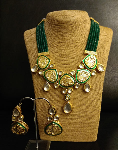 Jali Kundan Emerald Necklace with Earrings Set