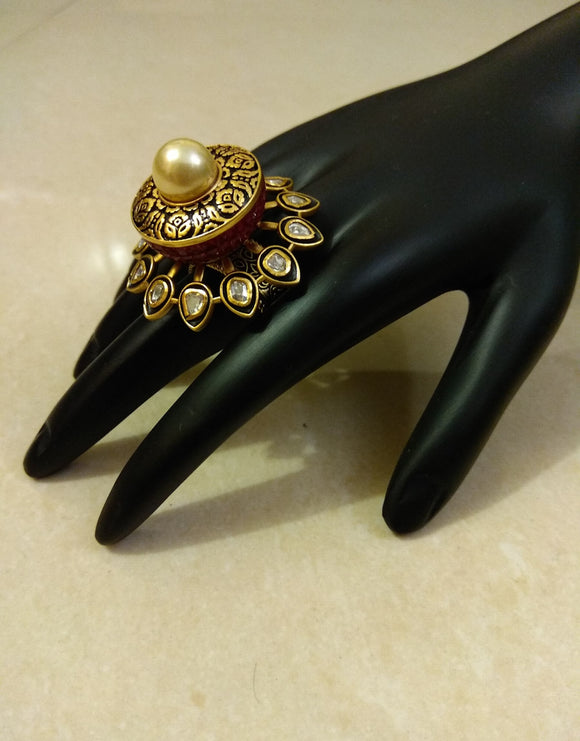 Antique Ring with Red Stones - Ziva Art Jewellery