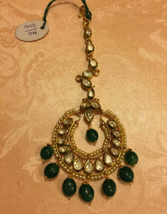 Kundan Tikka with Emerald drops - Ziva Art Jewellery