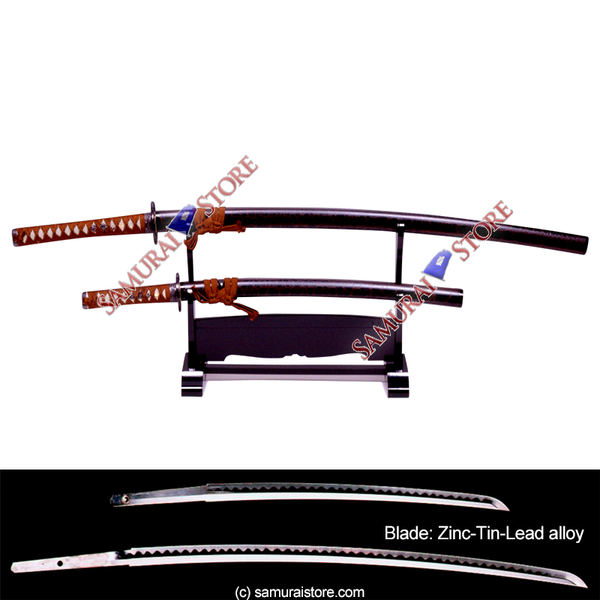 A Pair of Display Replica Sword Pine-Skin BLACK