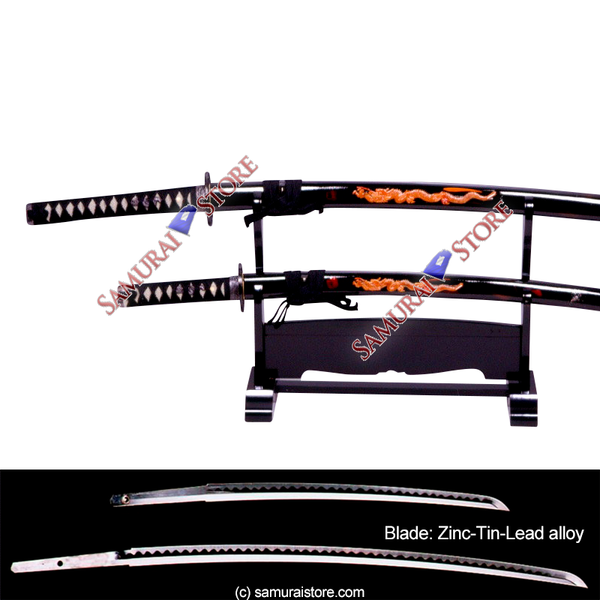 Pair of Display Replica Sword Dragon Carving