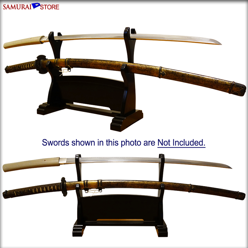 Sword Stand DELUXE - Horizontal Double Hook PRE-ASSEMBLED - [SAMURAI STORE]