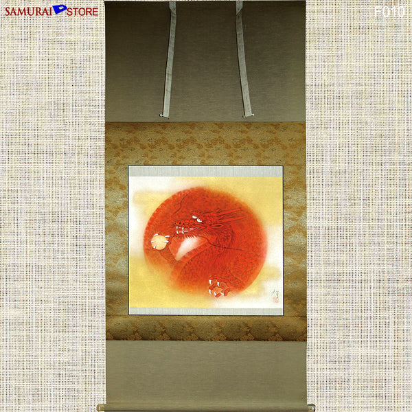 Hanging Scroll Painting Dragon in Red - Kakejiku F010 - SAMURAI STORE