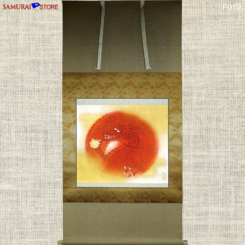Hanging Scroll Painting Dragon in Red - Kakejiku F010