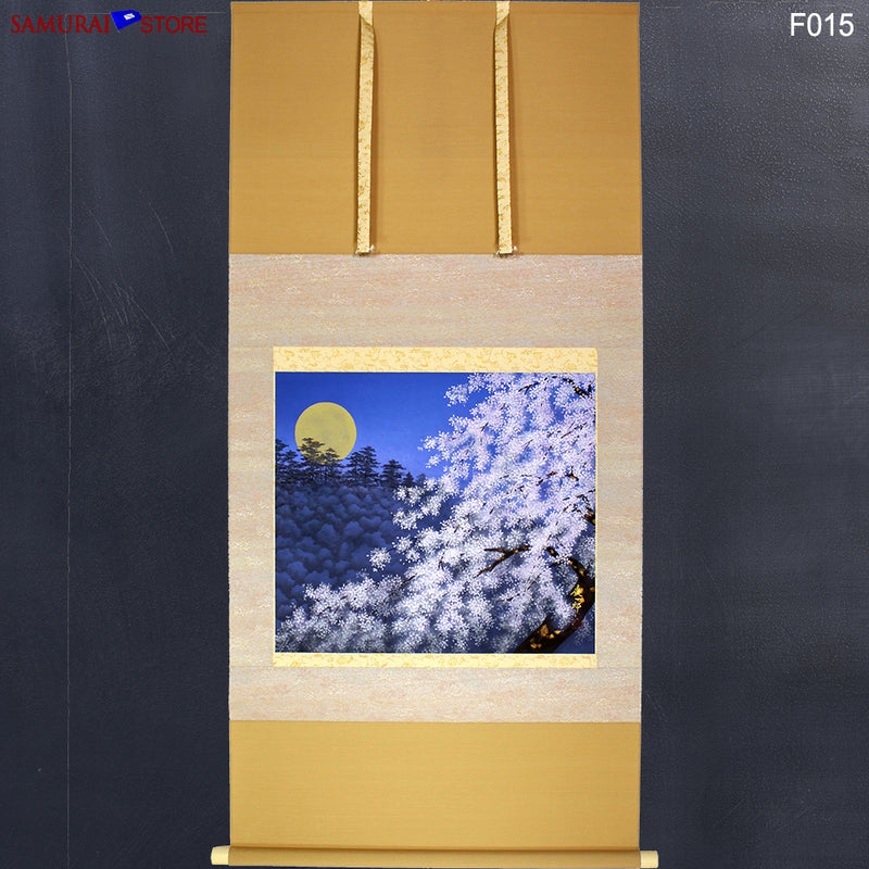 Hanging Scroll Painting SAKURA Cherries at Moony Evening  - Kakejiku F015 - SAMURAI STORE
