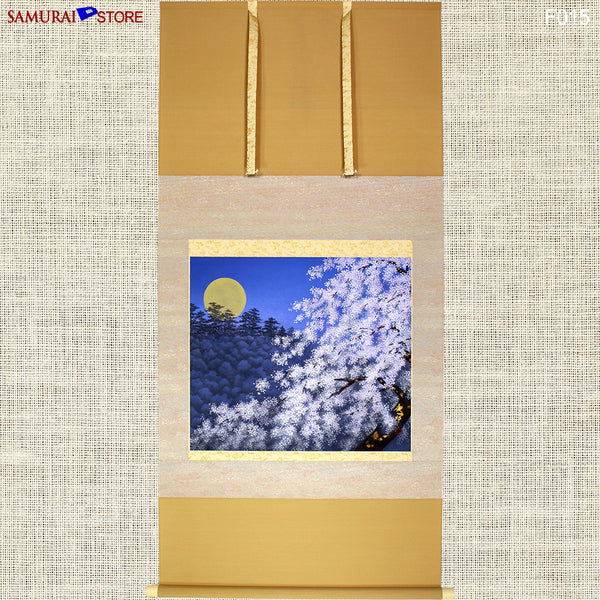 Hanging Scroll Painting SAKURA Cherries at Moony Evening  - Kakejiku F015 - [SAMURAI STORE]