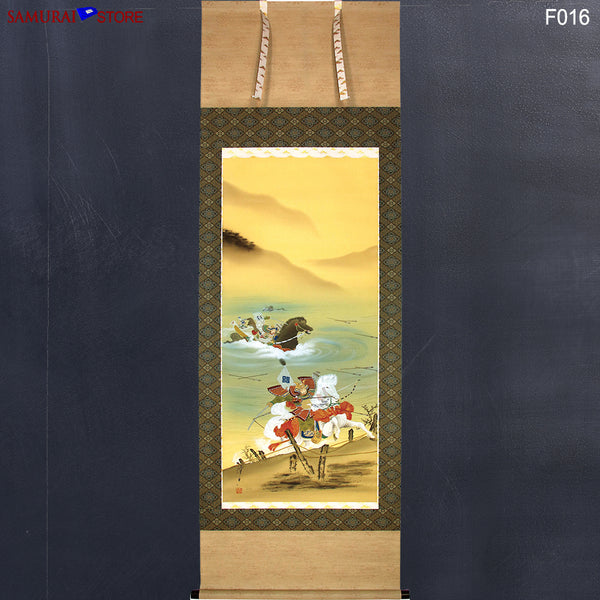 Hanging Scroll PaintingThe Battle of Vanguard at the Uji-gawa River  - Kakejiku F016 - SAMURAI STORE