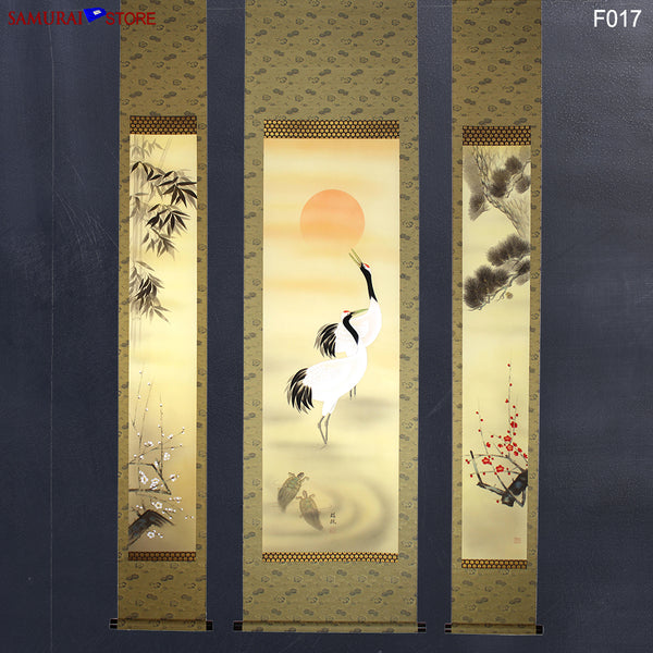 Set of 3 Hanging Scrolls Painting Pine Bamboo Plum Trees Cranes Turtles  - Kakejiku F017 - SAMURAI STORE