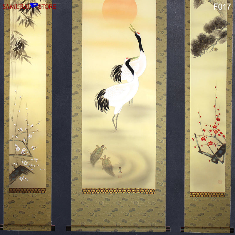 Set of 3 Hanging Scrolls Painting Pine Bamboo Plum Trees Cranes Turtles  - Kakejiku F017 - [SAMURAI STORE]