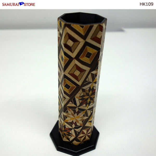Yosegi Marquetry Craft Single-Flower Vase (HK109) - [SAMURAI STORE]