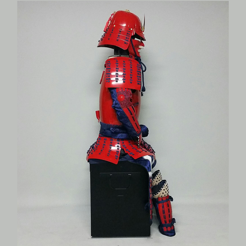(Ready-To-Ship) L049 RED Okegawa Suit of Armor w/Darkblue lacing - SAMURAI STORE