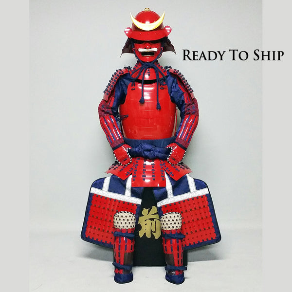 (Ready-To-Ship) L049 RED Okegawa Suit of Armor w/Darkblue lacing - [SAMURAI STORE]