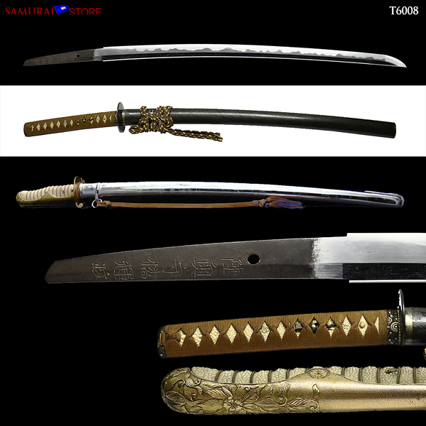 T6008 Katana Sword TERUMASA w/ Two Mounting - Antique - [SAMURAI STORE]
