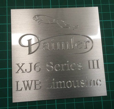 Diamond engraved aluminium plate jaguar engraver High quality watchmaker's brass - 1.5mm thick and professionally engraved in Oxford to your specification. It is ideal for trophies, pet tags, awards, memorials, stone, interior signage, exterior signage,  benches and door signs to name a few applications. Plaque engraving with graphics and colour infill . . .