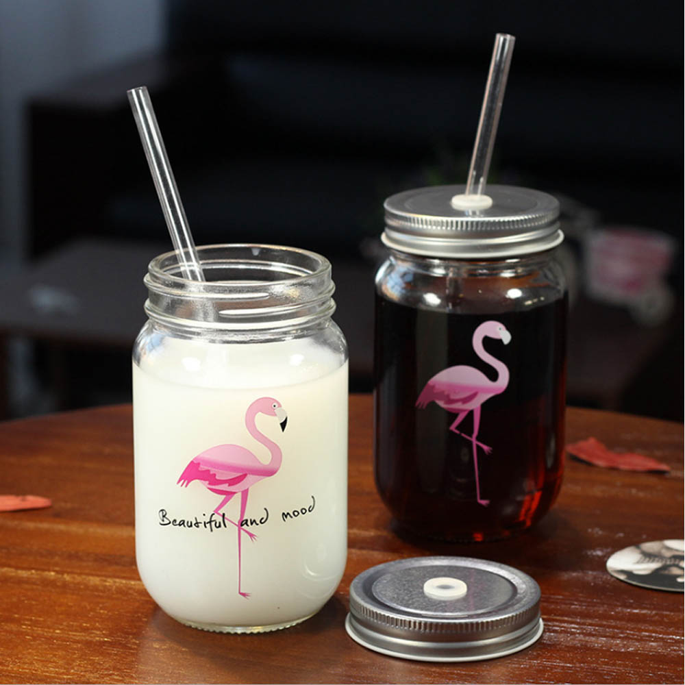 Mason Jar Flamant Rose