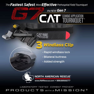 North American Rescue Combat Application Tourniquet (C-A-T or CAT) is proven to be 100 percent effective on arms and legs