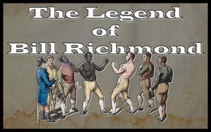 The legend of Bill Richmond.  Image of Bill Richmond in boxing pose facing opponent.