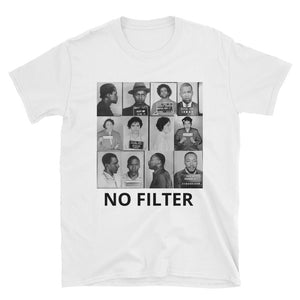 Front of a white t-shirt with mug shots of civil rights hero's on it