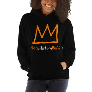 black hoodie with orange crown