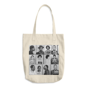 Front of a cream tote bag with mug shots of civil rights hero's on it