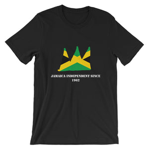Black shirt with Green yellow and black Jamaican flag in the shape of a crown on it