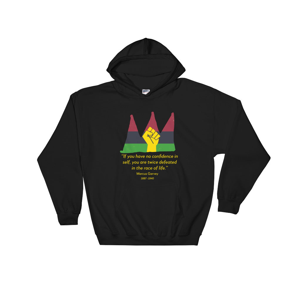 Hooded sweat shirt with a red, black and green crown and a Marcus Garvey quote underneath