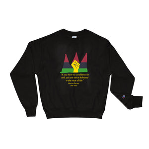 Black Champion sweat shirt with red black and green crown logo