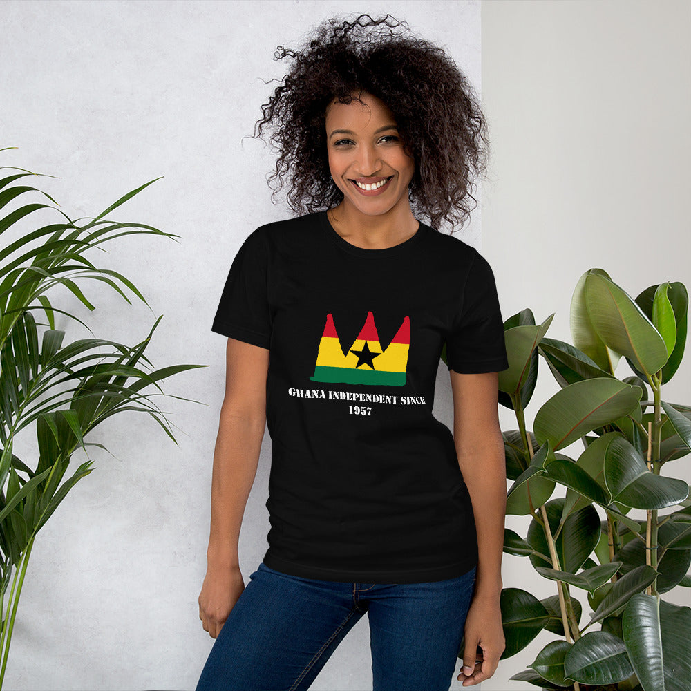 Pretty woman wearing a black T-shirt with a red yellow and green crown on it