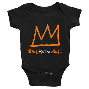 Baby body suit with orange crown and the words black history buff written underneath