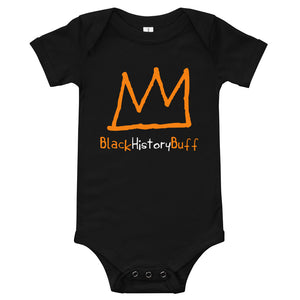 Cute Black baby grow with Orange crown in the middle and the words black history buff underneath