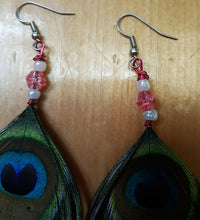 Load image into Gallery viewer, Pretty Pink Peacock Feather Earrings
