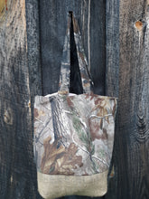 Load image into Gallery viewer, Cute in Camo Tote Bag or Purse Made with Recycled Coffee Burlap Sack