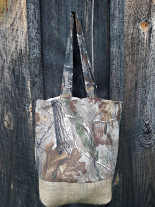 Cute in Camo Tote Bag or Purse Made with Recycled Coffee Burlap Sack