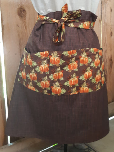 Fall Pumpkins Vintage-inspired Half Apron. Made from a 1940's Retro Pattern!