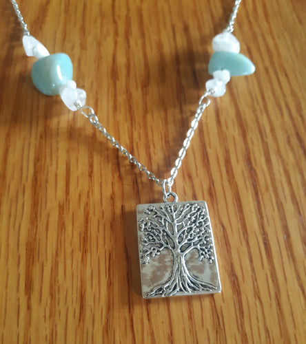 Tree of Life Amazonite and Rose Quartz Necklace