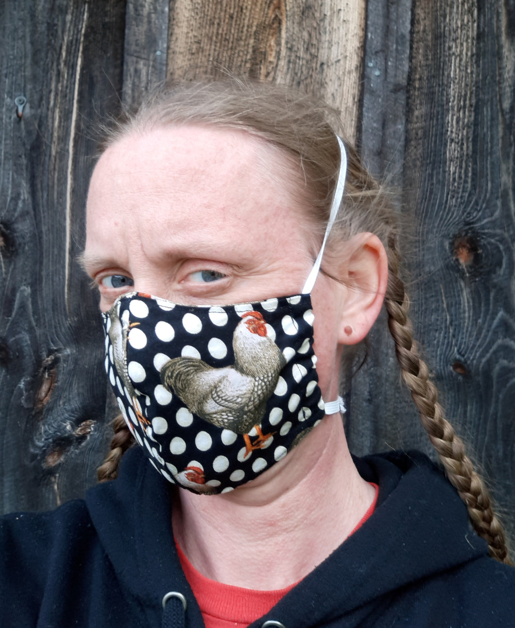 Chicken Print Homemade Cotton Fabric Facemask