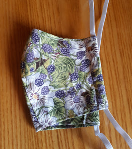 Homemade Cotton Fabric Facemask- Blackberries or Veggies