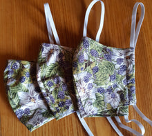 Load image into Gallery viewer, Homemade Cotton Fabric Facemask- Blackberries or Veggies