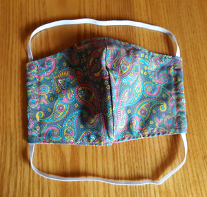 Paisley and Pink Print Reversable Homemade Cotton Fabric Facemask