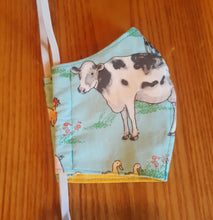 Load image into Gallery viewer, Farm Animal Print Reversable Homemade Cotton Fabric Facemask