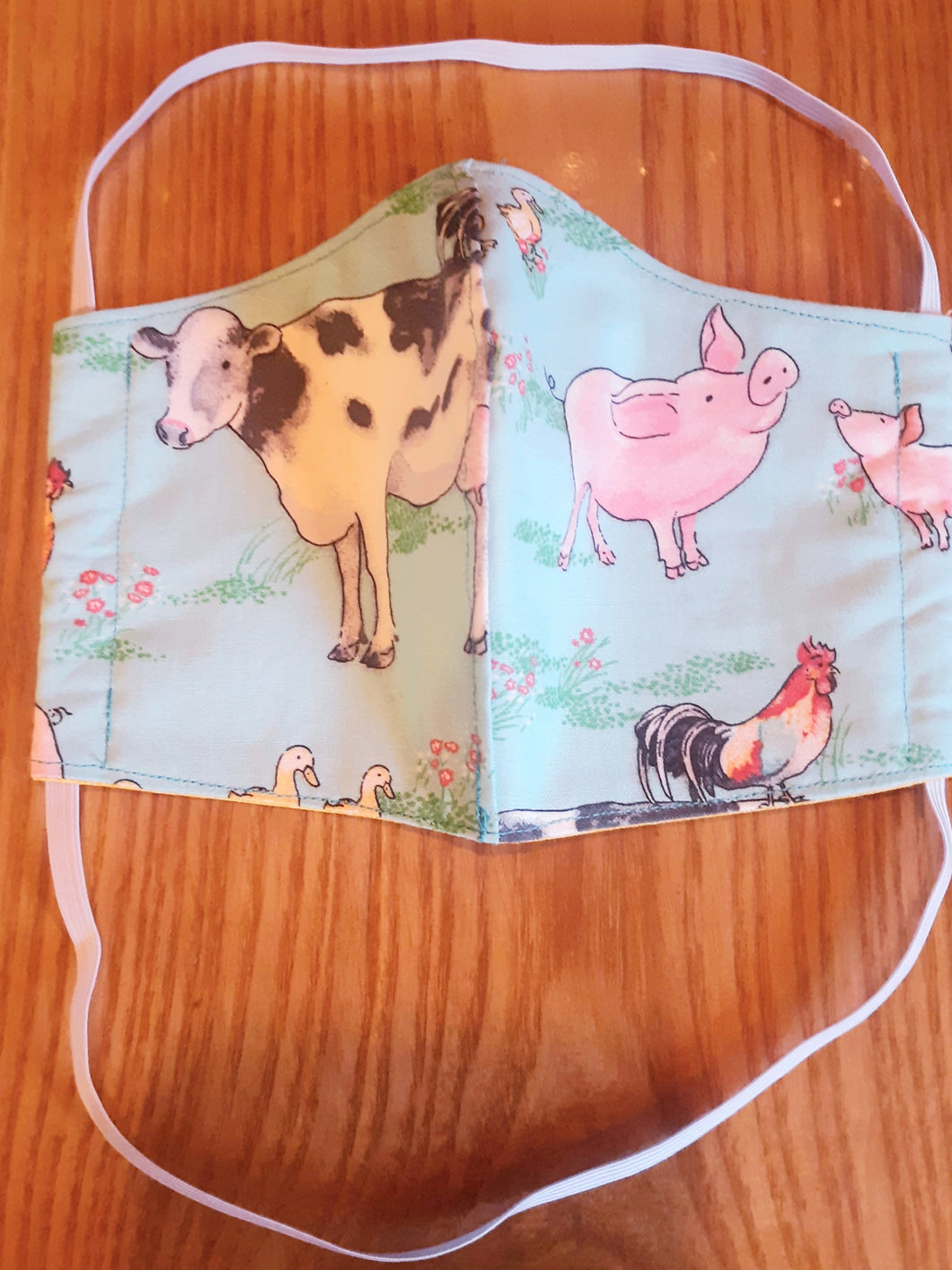 Farm Animal Print Reversable Homemade Cotton Fabric Facemask