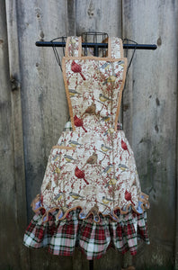 Winter Songbirds Apron.  Made from a Vintage 1940's Pattern!
